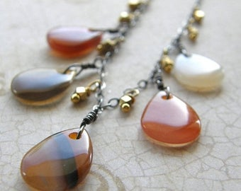 Summer Sale 20% Off Red Agate Teardrop Necklace, Extra Long Chain Necklace, Mixed Metals Gold and Silver Necklace, Boho Rustic Orange Neckla
