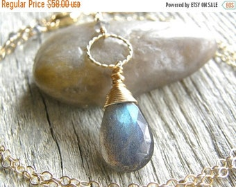 Summer Sale 20% Off Long Labradorite and Gold Circle Necklace, Gold Chain Pendant Necklace