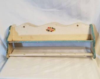 Vintage towel rack shelf, cottage style, 17x7