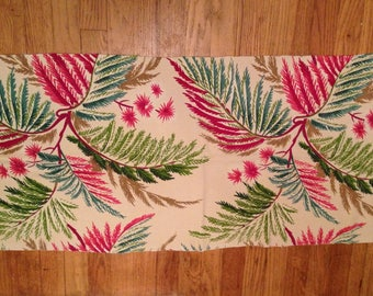 "Vintage Barkcloth Fabric Remnant 43"" x 19"""