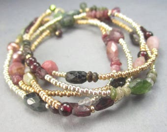Long Gemstone Necklace Boho Beaded Wrap Bracelet Tourmaline 14K Gold Filled Fall October Birthstone