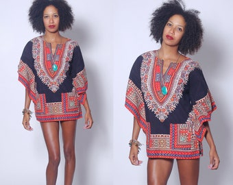 Vintage 70s DASHIKI Black & Red Hippie Tunic Cotton FESTIVAL Top ETHNIC Boho Mini Dress