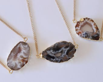 Geode Necklace Gold, Crystal Necklace, Double Sided Geode Agate Slice, Druzy Pendant, Natural Pendant, Natural Stone, GDSN69