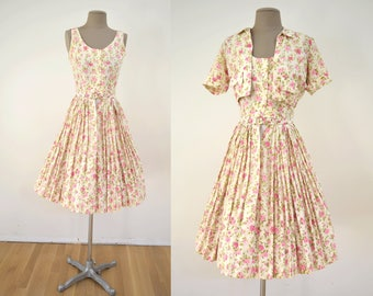 Vintage 50s Dress & Bolero Jacket Pink Roses Cotton Sundress XS // 1950s pleated skirt 60s 1960s