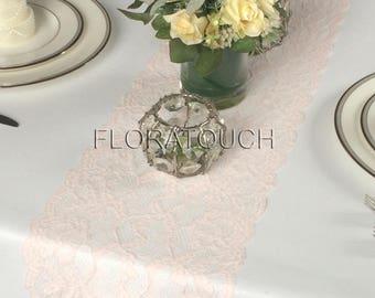 "Light Pink Lace Table Runner Wedding Table Runner 9"" wide LPNK11"