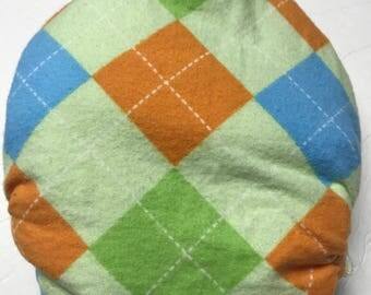 MamaBear One Size Fitted Cloth Cotton Flannel Diaper - Adorable Argyle