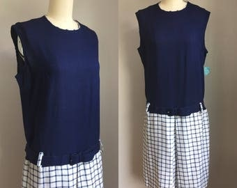 Vintage 1960s NOS Navy and White Drop Waist Scooter Dress with tag Size Medium