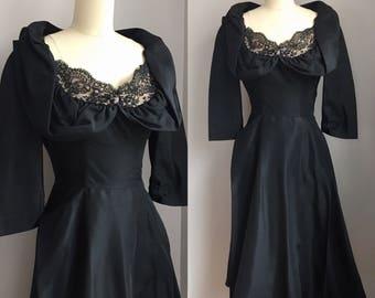 Vintage 1950's Jet Black Taffeta and Lace Portrait Collar Cocktail Party Dress Size XS