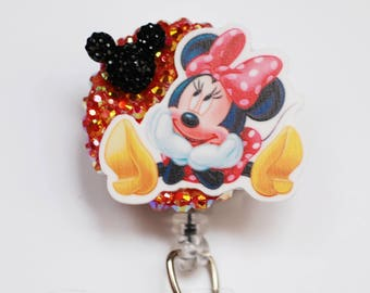 Disney's Minnie Mouse In Love ID Badge Reel - Retractable ID Badge Holder - Zipperedheart