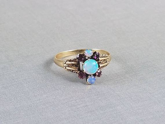Antique Victorian 10k rose gold intense play of color opal and amethyst ring, size 8-1/4