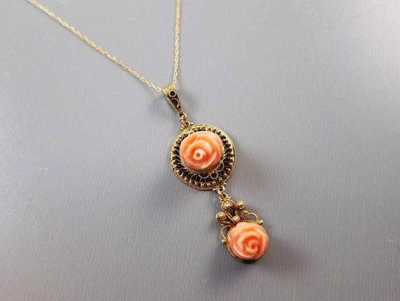 Antique Edwardian cannetille 14k gold carved peach coral roses lavalier drop pendant necklace