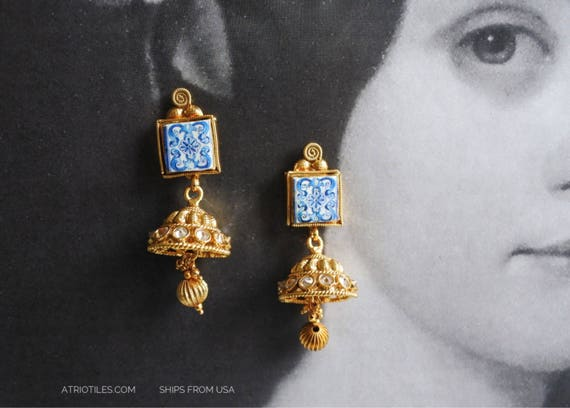 Earrings Indian Jhumka Jhumki with 16th Century Azulejo Tiles from Aveiro Santa Joana Convent Goa