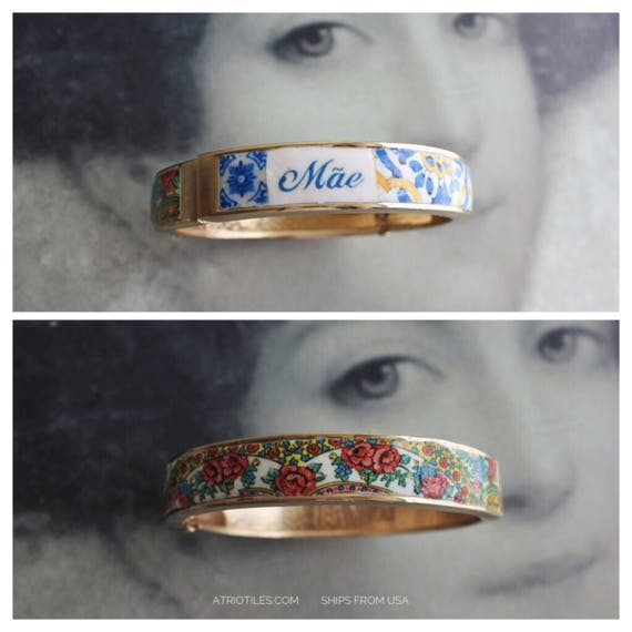Mãe Mother BRACEleT - Mother's Day Portugal Antique 17th century Azulejo Tile Replicas - Blue Gold-  Ericeira PRE ORDER