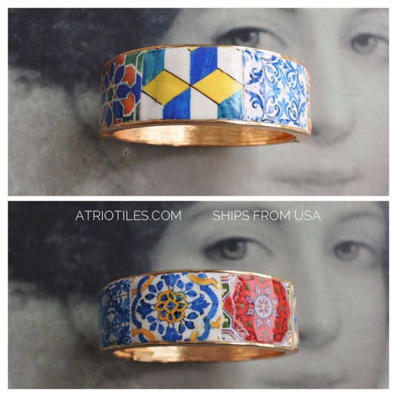 Bracelet Portugal Tile Azulejo  Bangle  -  Porto Ericeira  Jeans Bohemian Cuff Chunky - Ships from USA