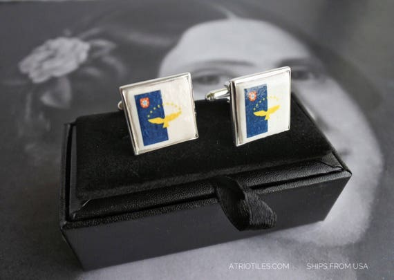 925 Silver CUFF LINKS AZORES Acores  Açores Azorean Flag Portugal - Gift Box Included Gift for Him Dad Pai Father Husband