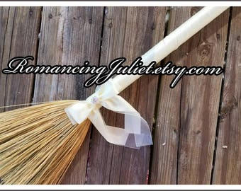 Classic Jump Broom Made in Your Custom Colors with Rhinestone Accent ..shown in ivory