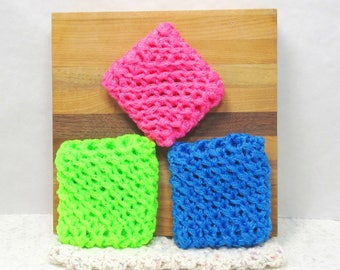 Pot Scrubbers, 3pk, nylon net, durable, eco-smart, cleaning aid, home, kitchen, bath, 20 colors. Please specify colors from list.