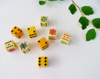 Vintage Dice Mixed - Lot of 9 - Numeric and Symbols