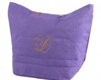 Personalized Jute Burlap Medium Tote Purple