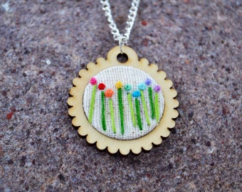 Rainbow Flowers Hand Embroidered Necklace Mini Embroidery Hoop Pendant Jewelry Wood Scalloped Circle