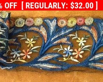 Antique French Tulle Embroidered Lace