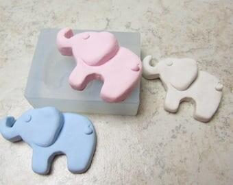 Elephant Clear Silicone Baby Elephant Mold Fondant Cake  Baking Mould