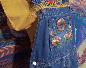 Overalls, Denim, Patched, Long, Blue, size S
