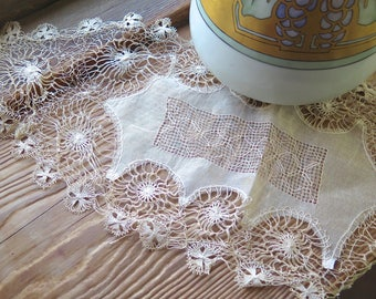 """Antique Teneriffe Doily in Linen Organza and Cotton Spider Web Polka Lace 26"""" x 10"""" Oval"""