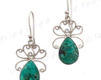 """15/16"""" Teardrop Turquoise 925 Sterling Silver Earrings"""
