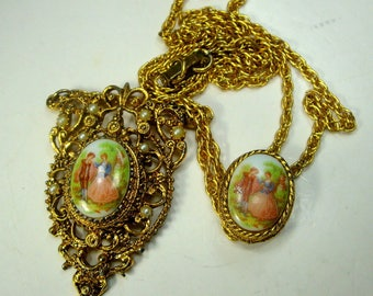 2 CAMEO Pendant Necklace with Porcelain Lovers Pendants, French Style Gold Filigree and Chains, 1970s Mint Renaissance Flirtation