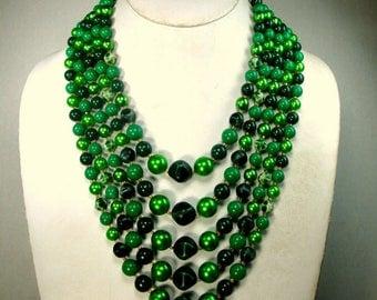 Metallic Green n Blue 5 Strand Necklace, 1960s Japan, Mad Men Verdant Beads, Elegant Color,  and Fun, Adjustable Length,