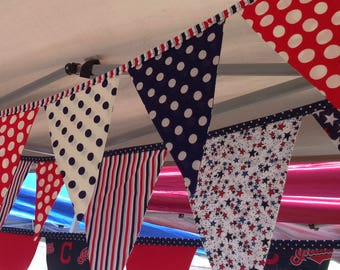 PATRIOTIC FABRIC BANNER--Red White Blue Banner Bunting Garland Flags--4th of July--Stars and Stripes-Army Navy Air Force Marines-Service men