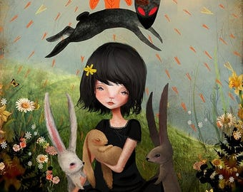 50% Off SALE Large 11x17 or 13x19 Art Print 'My heart has joined the Thousand, for my friend stopped running today' - Watership Down inspire