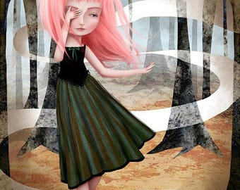 50% Off SALE 11x17 or 13x19 Large Sized Giclee Art Print by Jessica Grundy - Pink Haired Girl in the Woods