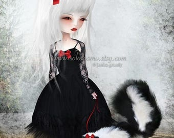 "50% Off SALE Lowbrow Art 8x10 or 8.5x11 - ""Take Warning""  - Black and White Girl and Pet Skunk - Giclee Print of Original Illustration"