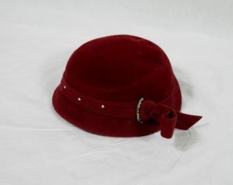 Dark Red Felt Velour Hat 1950s 1940s Rhinestones