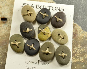 Ten cuties   a set of jet black  and grey little  Maine sea stone buttons ecochic  ocean style for knitters and jewelry craft