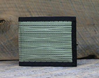 Mens MEGAfold Double ID Kevlar Wallet - Oversized Mens Bifold Wallet - Olive Green and Black Kevlar Aramid Sailcloth - Rugged Vegan