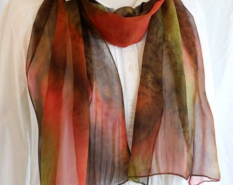 Mother's Day Silk Scarf, Hand painted Chiffon, Long