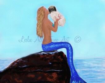 "Mermaid Painting Art Print Mermaids Giclee Art Print Dog Shihtzu Ocean Mermaid Theme Wall Art Decor ""LOVING MY DOG"" Leslie Allen Fine Art"