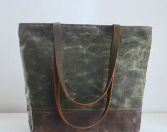 Olive Waxed Canvas Tote Bag with Leather Straps - Ready to Ship