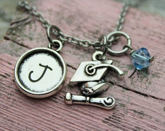 Personalized Graduation Initial Charm Necklace