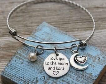 I love you to the moon and back Charm Bangle Bracelet