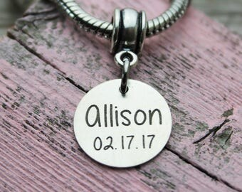 Personalized Name and Date Charm, Fits Pandora, Sterling Silver