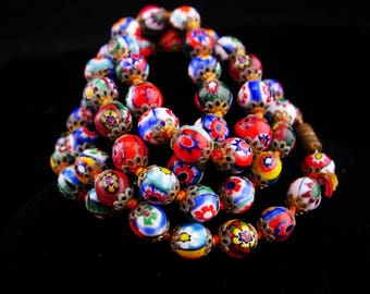 "1920s millefiori necklace / vintage glass choker / Hand knotted necklace / Italian Glass  / 25"" long / black red blue green and yellow"