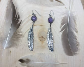Amethyst and Feather Drop Earrings