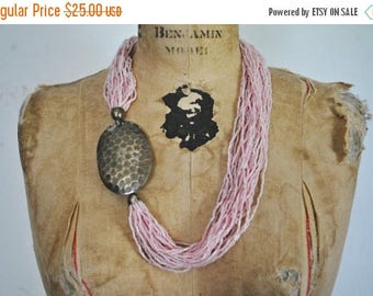 SALE Pink ASYMMETRICAL Metal and Beaded Necklace