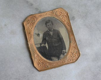 Antique Tin Type Photograph with Ornate Brass Frame Young Boy