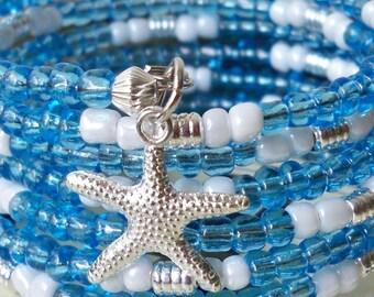 Seed Bead Wrap Bracelet - Blue iridescent beads, white beads & silver metal beads - Starfish charm - Boho chic - Bohemian - bycat