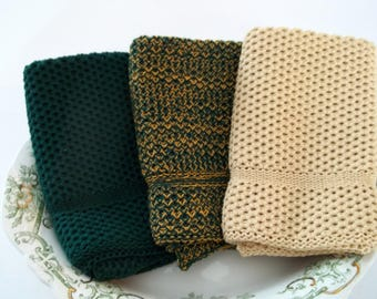 Dishcloths/Wash Cloths  Knit in Cotton in Dk Green, Butter and DkGreenGold